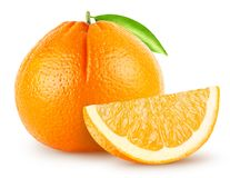 Isolated oranges. Whole single orange fruit with leaf and piece isolated on white background clipping path stock images
