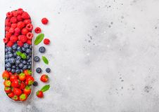 Free Fresh Raw Organic Berries In In Stainless Steel Tray On Kitchen Table Background. Space For Text. Top View. Strawberry, Raspberry, Stock Images - 127318824