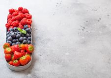 Fresh raw organic berries in in stainless steel tray on kitchen table background. Space for text. Top view. Strawberry, Raspberry. Fresh raw organic berries in stock images