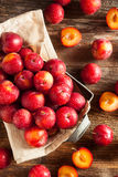 Fresh Raw Organic Cherry Plums. Ready to Eat Stock Photos