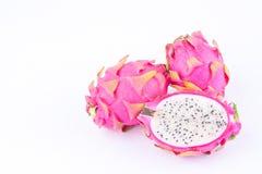 Fresh  raw organic dragon fruit (dragonfruit) or pitaya on white background healthy fruit food isolated Royalty Free Stock Photography