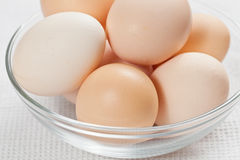 Fresh raw organic eggs in glass bowl. Fresh raw organic eggs in a glass bowl on the white cloth Stock Images