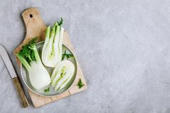 Fresh raw organic florence fennel bulbs or fennel bulb on gray stone background stock photography