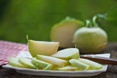 Fresh, raw, organic kohlrabi. Fresh, organic kohlrabi. Kohlrabi salad. Healthy food Stock Photography