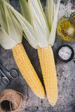 Fresh raw organic sweet corn cobs. On rustic background Royalty Free Stock Photos