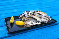 Fresh raw oysters with lemon on bright blue wooden table Royalty Free Stock Photography