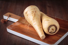 Fresh raw Pastinaca carrot. For healthy nutrition Stock Photos