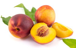 Fresh raw peaches on white. Fruit background Royalty Free Stock Photos