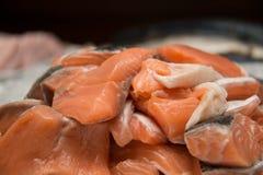 Fresh raw pieces of salmon. At market Royalty Free Stock Photo