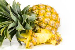 Fresh and raw pineapple. On a white background Royalty Free Stock Image