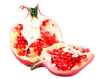Fresh raw pomegranate fruit. Over white background Stock Image