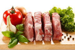 Fresh raw pork. On cutting board Royalty Free Stock Photo