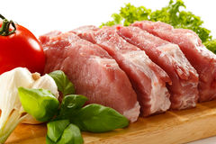Fresh raw pork. On cutting board Royalty Free Stock Photography