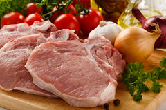 Fresh raw pork. On cutting board Stock Image