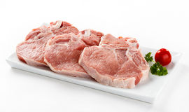 Fresh raw pork. On white background Stock Photography
