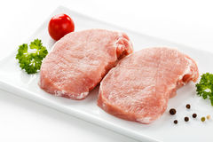 Fresh raw pork. On white background Royalty Free Stock Photos