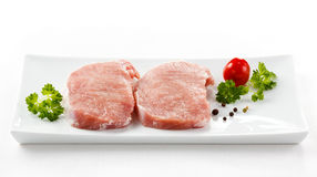 Fresh raw pork. On white background Stock Photos