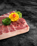 Fresh and raw pork bacon ribs on kitchen table ready for bbq or grill with clipping path.  Royalty Free Stock Photo