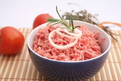 Fresh raw pork. In a bowl Royalty Free Stock Image