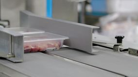 Vacuumed Packaging meat on the production line at the factory