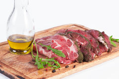 Fresh raw pork chops on white background. Fresh raw pork chops Stock Photos