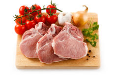 Fresh raw pork. On cutting board Royalty Free Stock Photography