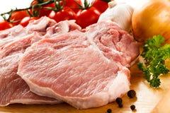 Fresh raw pork. On cutting board Royalty Free Stock Images