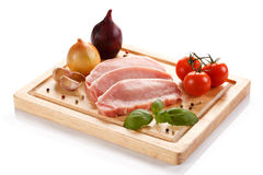 Fresh raw pork. On cutting board Stock Images