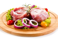 Fresh raw pork. On cutting board Royalty Free Stock Images