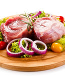 Fresh raw pork. On cutting board Stock Photo