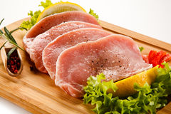 Fresh raw pork. On cutting board Royalty Free Stock Photos