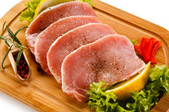 Fresh raw pork. On cutting board Royalty Free Stock Image