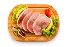 Fresh raw pork. On cutting board Stock Photos