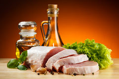 Fresh raw pork on cutting board Royalty Free Stock Image