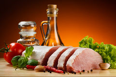 Fresh raw pork on cutting board Royalty Free Stock Images