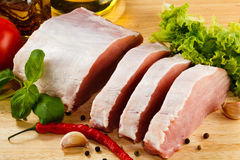 Fresh raw pork on cutting board Stock Photos
