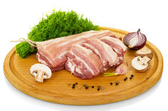Fresh raw pork, dill and spices isolated on white . Stock Photo