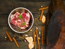 Fresh raw pork. Raw fresh pork and herbal ingredients for steak Stock Images