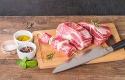 Fresh raw pork meat chops Royalty Free Stock Photo