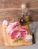 Fresh raw pork meat chops Royalty Free Stock Photography