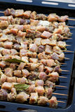 Fresh raw pork meat. Shashlik on skewers Stock Photo
