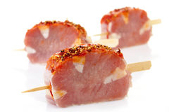 Fresh raw pork meat. With spices for grill Royalty Free Stock Photos