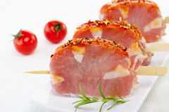 Fresh raw pork meat. With spices for grill Stock Photos