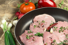 Fresh raw pork meat with spices and seasoning. In pan close-up Royalty Free Stock Images