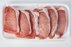 Fresh raw pork meat. On store tray Royalty Free Stock Photos