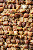 Fresh raw pork meat. Top View. Fresh raw pork meat, shashlik on skewers. Top View Stock Image
