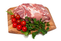 Fresh raw pork meat and vegetables. Composition of fresh raw pork meat with vegetables Stock Image
