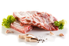 Fresh raw pork. Fresh raw ribs on white background Royalty Free Stock Photography