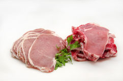 Fresh raw pork. Surrounded by white background Royalty Free Stock Photography