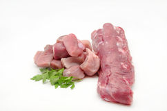 Fresh raw pork. Surrounded by white background Stock Images